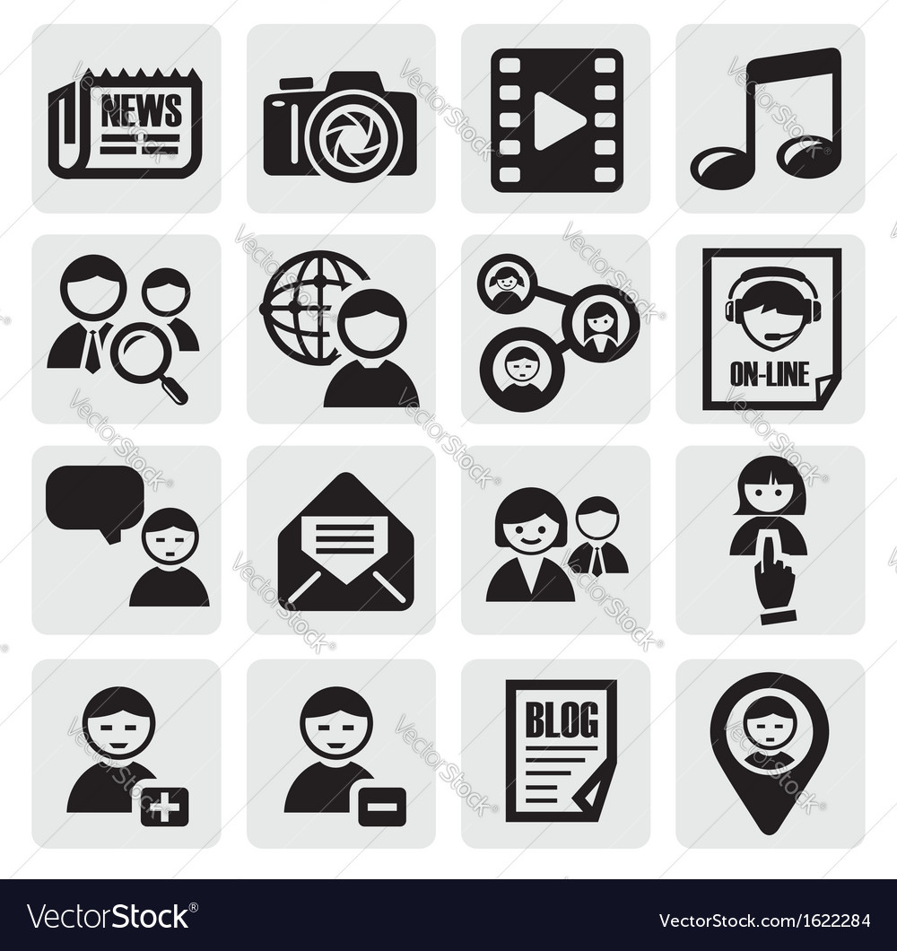 Social network set vector | Price: 1 Credit (USD $1)