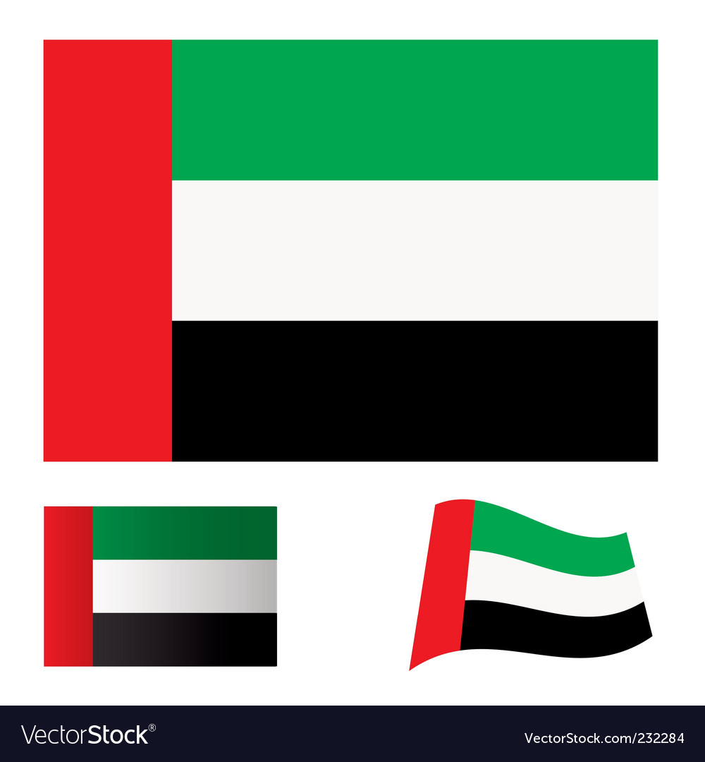 United arab emirates flag set vector | Price: 1 Credit (USD $1)