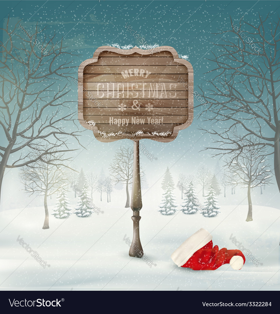 Winter christmas landscape with a wooden ornate vector | Price: 3 Credit (USD $3)
