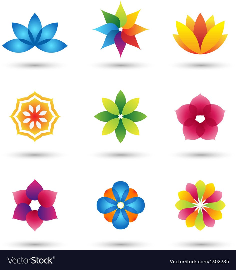 Abstract flower logo and icons set vector | Price: 1 Credit (USD $1)
