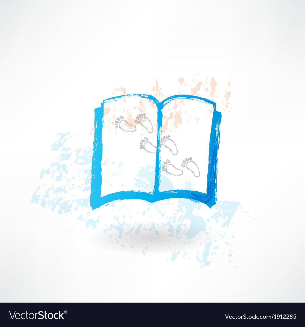 Book and footprints grunge icon vector | Price: 1 Credit (USD $1)