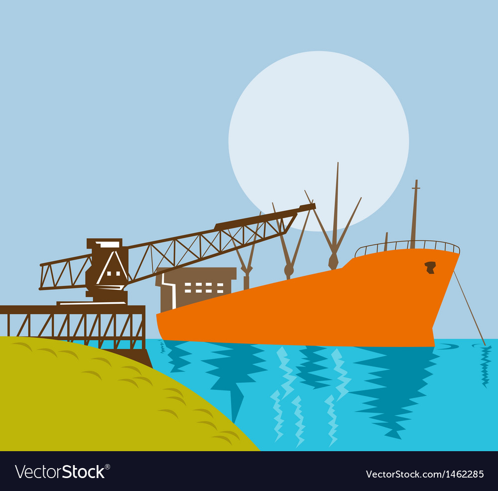 Boom crane loading a cargo ship vector | Price: 1 Credit (USD $1)