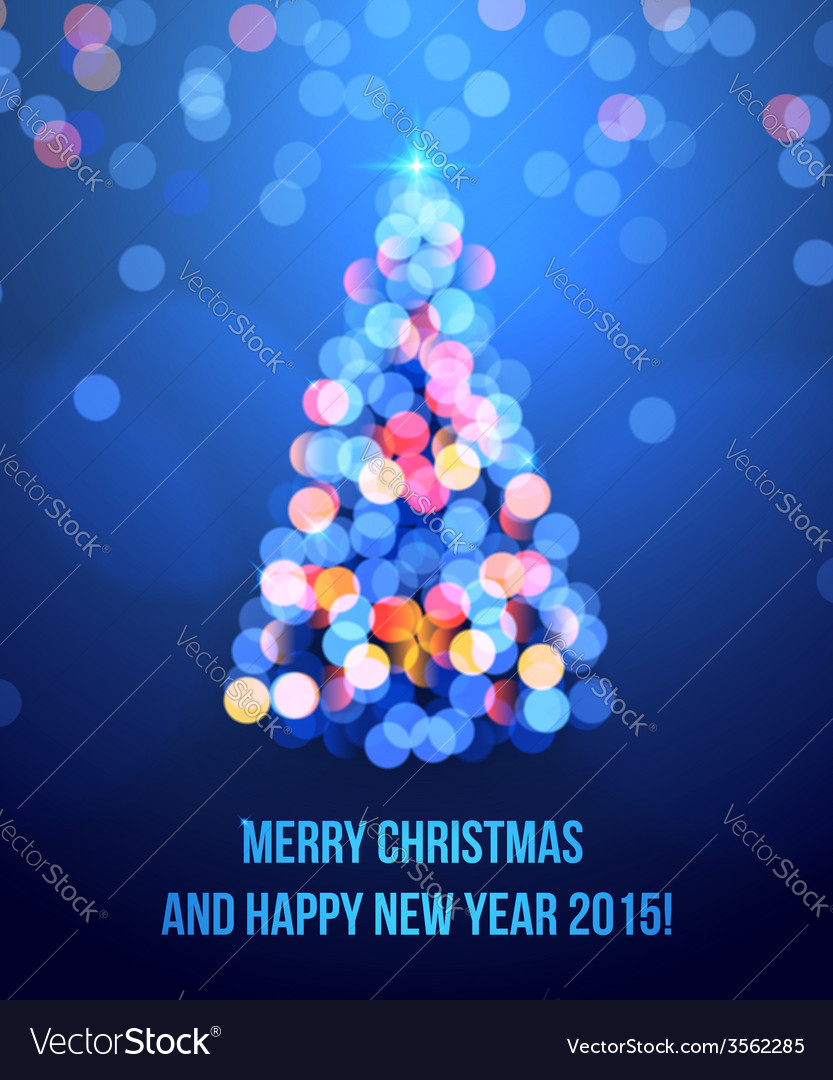 Card with christmas tree lights vector
