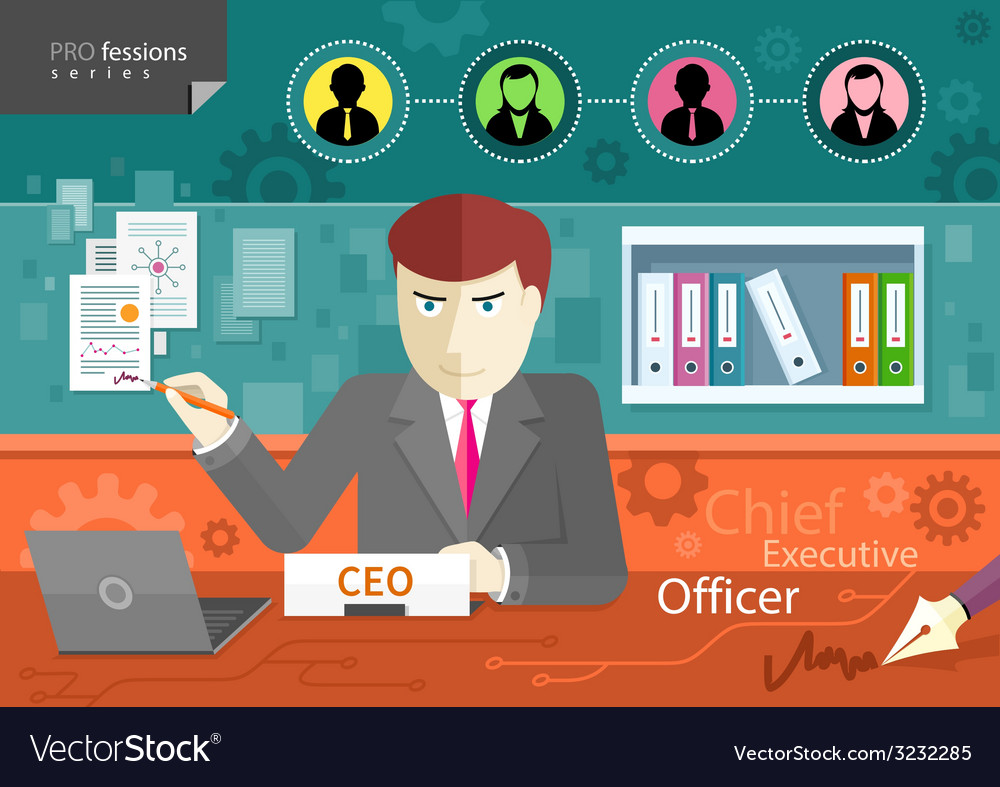 Chief executive officer sitting at table in office vector | Price: 1 Credit (USD $1)