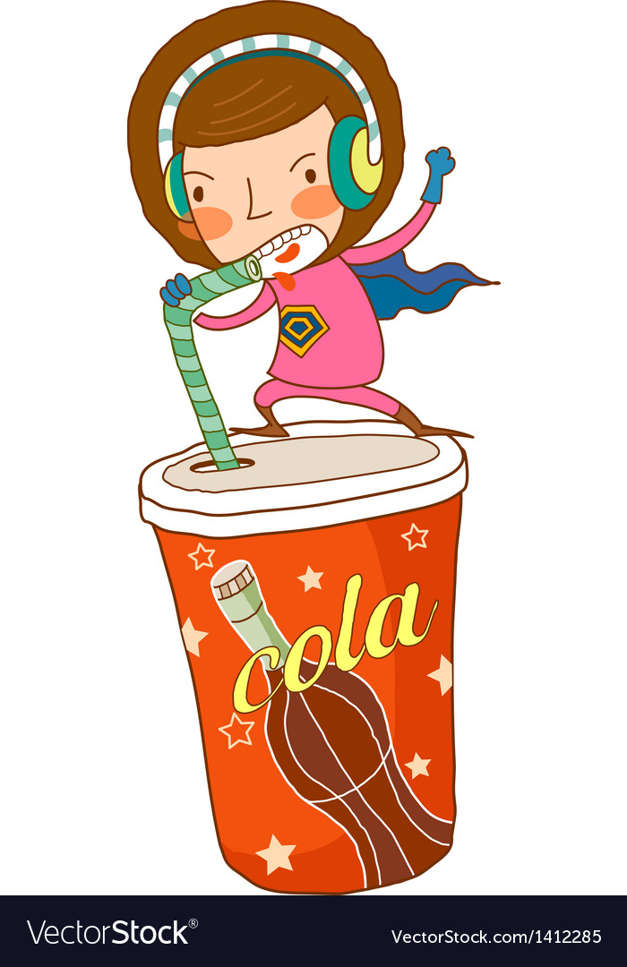 Close-up of boy drinking cola vector | Price: 3 Credit (USD $3)