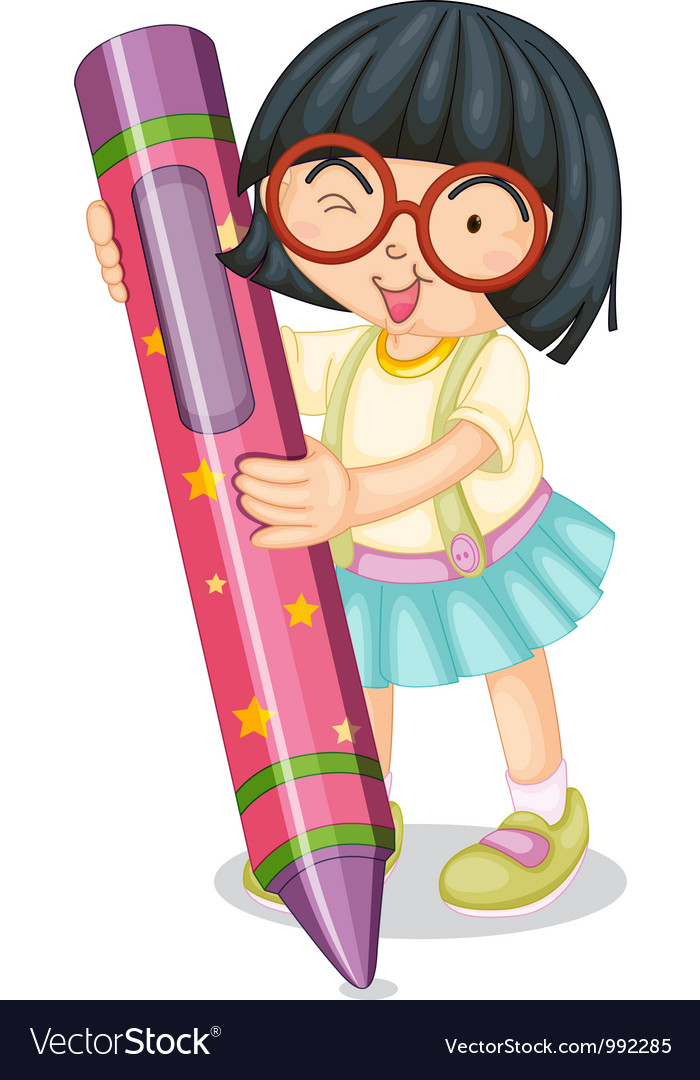 Girl holding large crayon vector | Price: 1 Credit (USD $1)