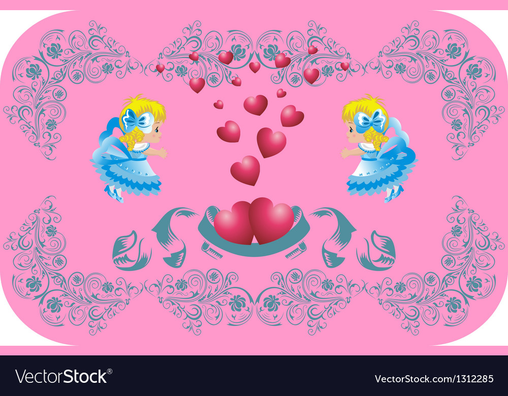 Lovely hearts surrounded by angels vector | Price: 1 Credit (USD $1)