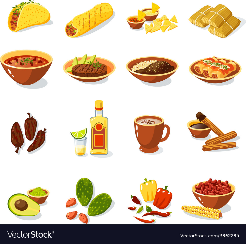 Mexican food set vector