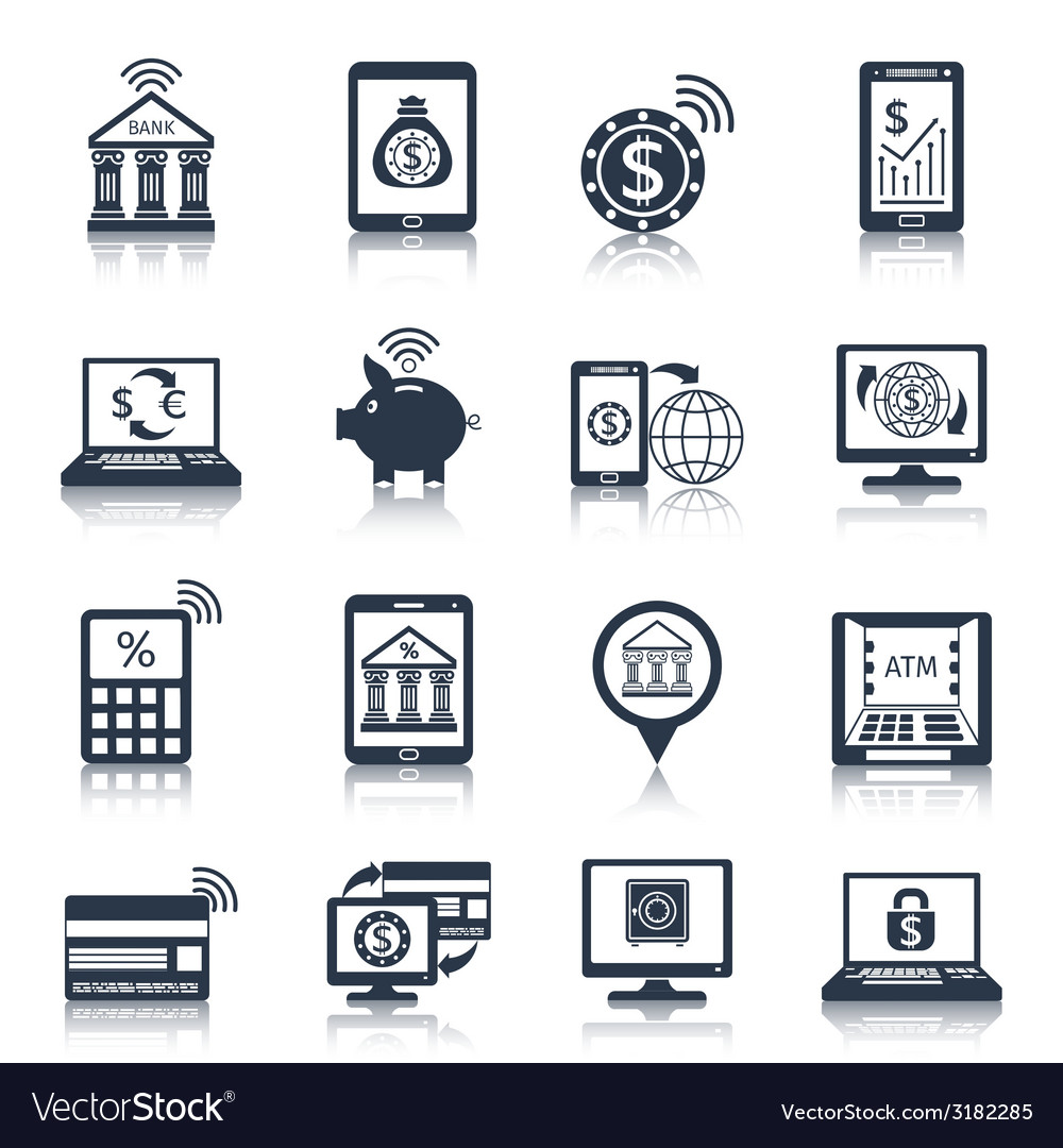 Mobile banking icons black vector | Price: 1 Credit (USD $1)