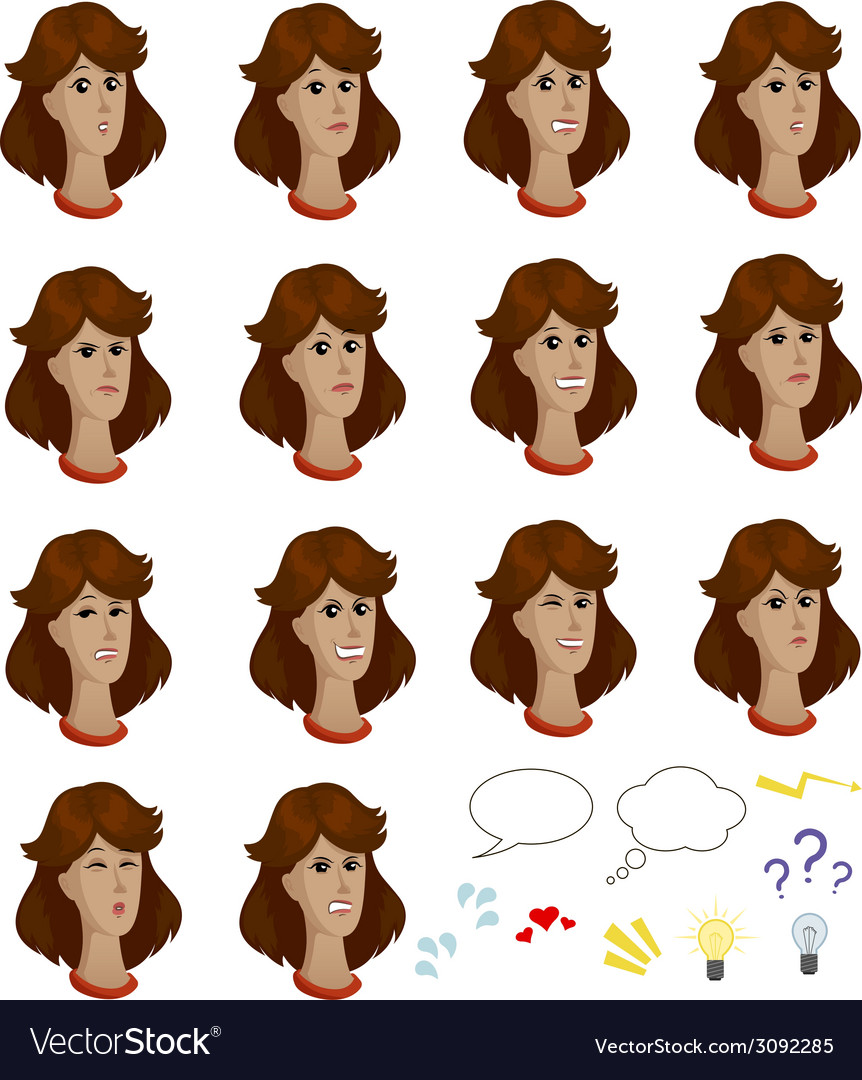 Set of cartoon colored female faces with emotional vector | Price: 1 Credit (USD $1)