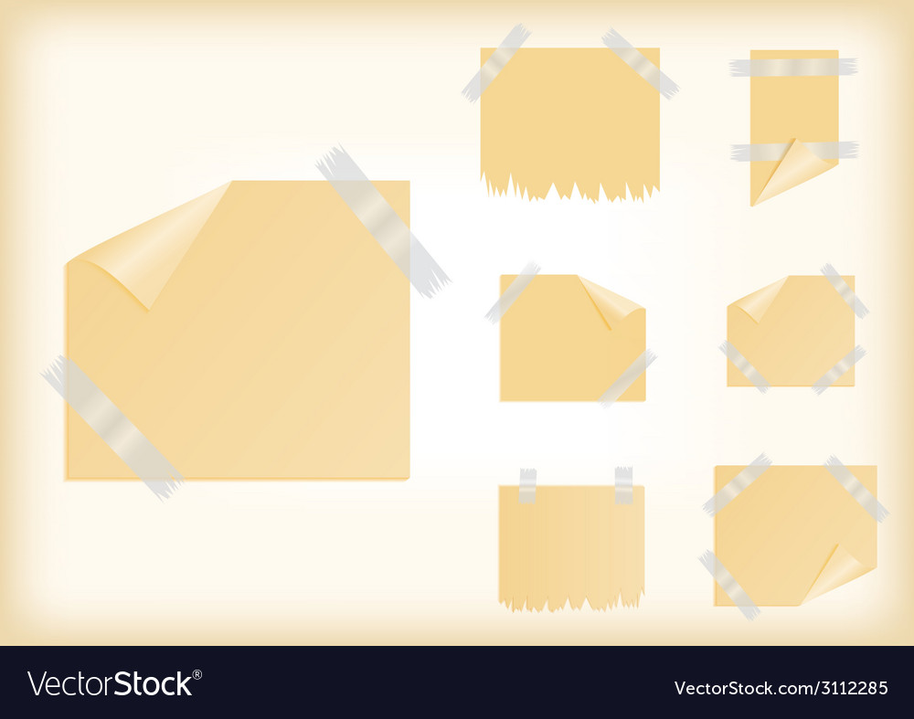 Yellow stickers with scotch tape vector | Price: 1 Credit (USD $1)