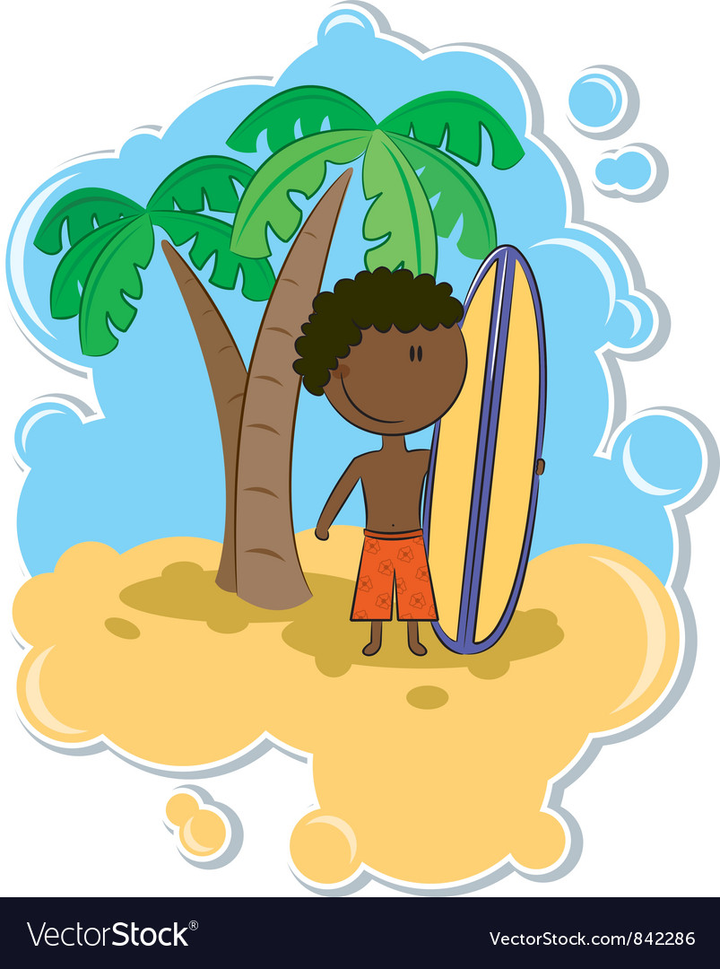 African-american boy with surfboard vector | Price: 3 Credit (USD $3)