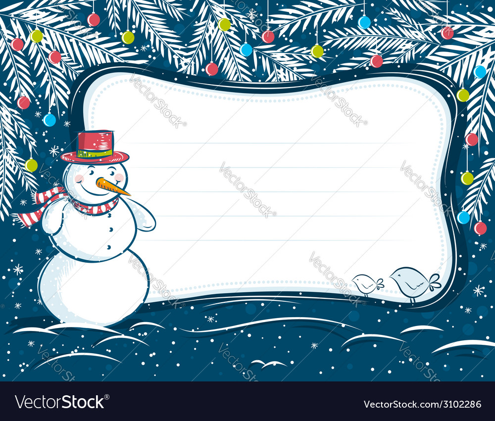 Background with snowman and label for message vector | Price: 1 Credit (USD $1)