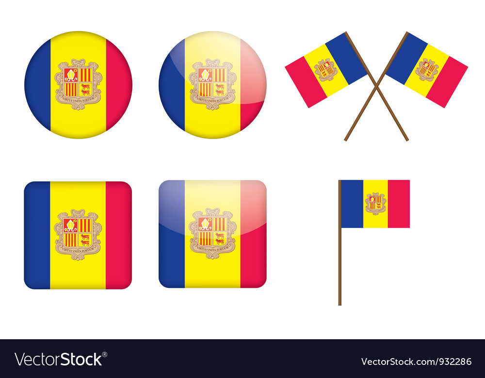 Badges with flag of andorra vector | Price: 1 Credit (USD $1)