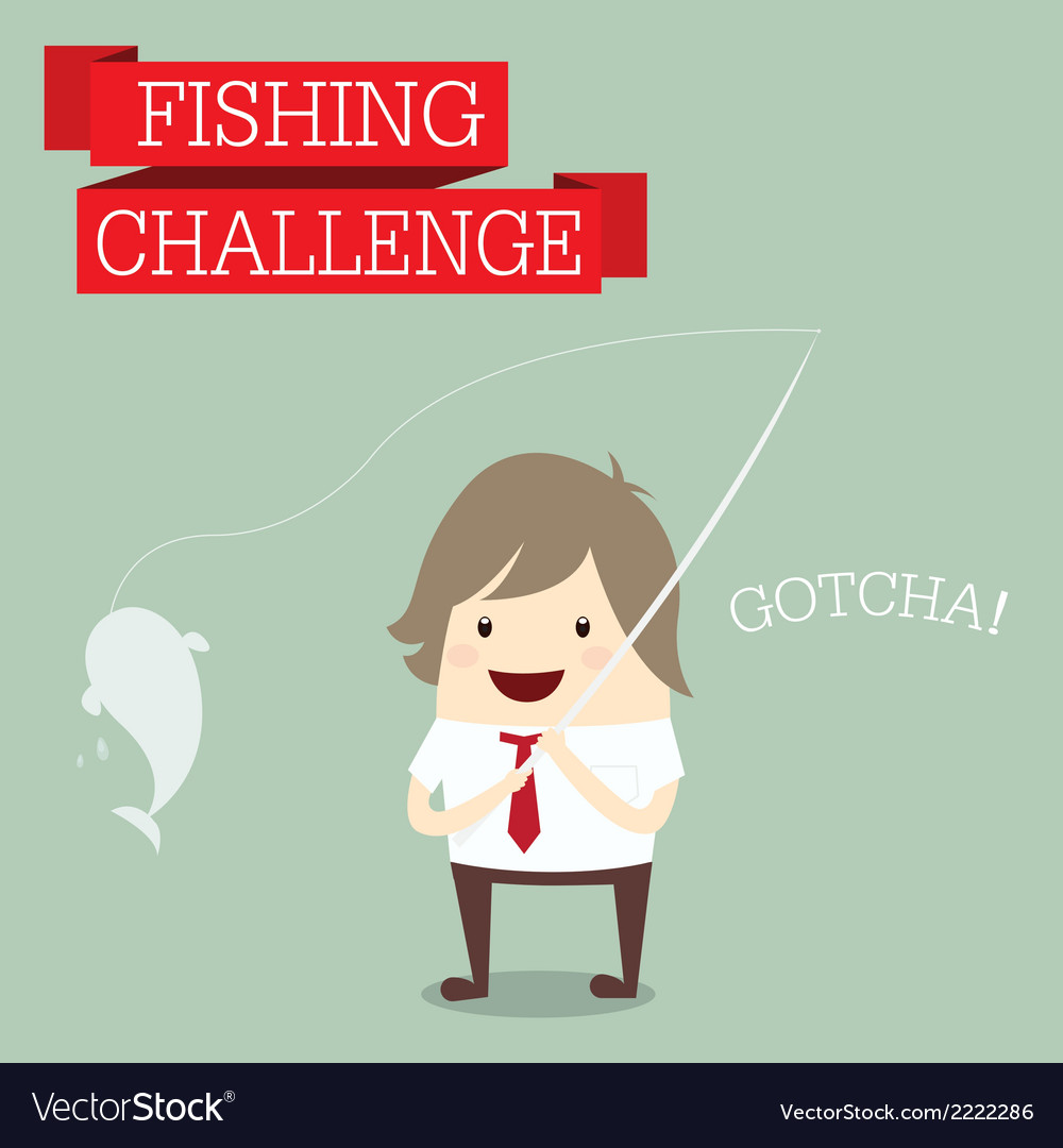 Businessman relaxing and catching fish with words vector | Price: 1 Credit (USD $1)