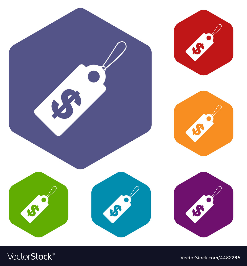 Dollar tag rhombus icons vector | Price: 1 Credit (USD $1)
