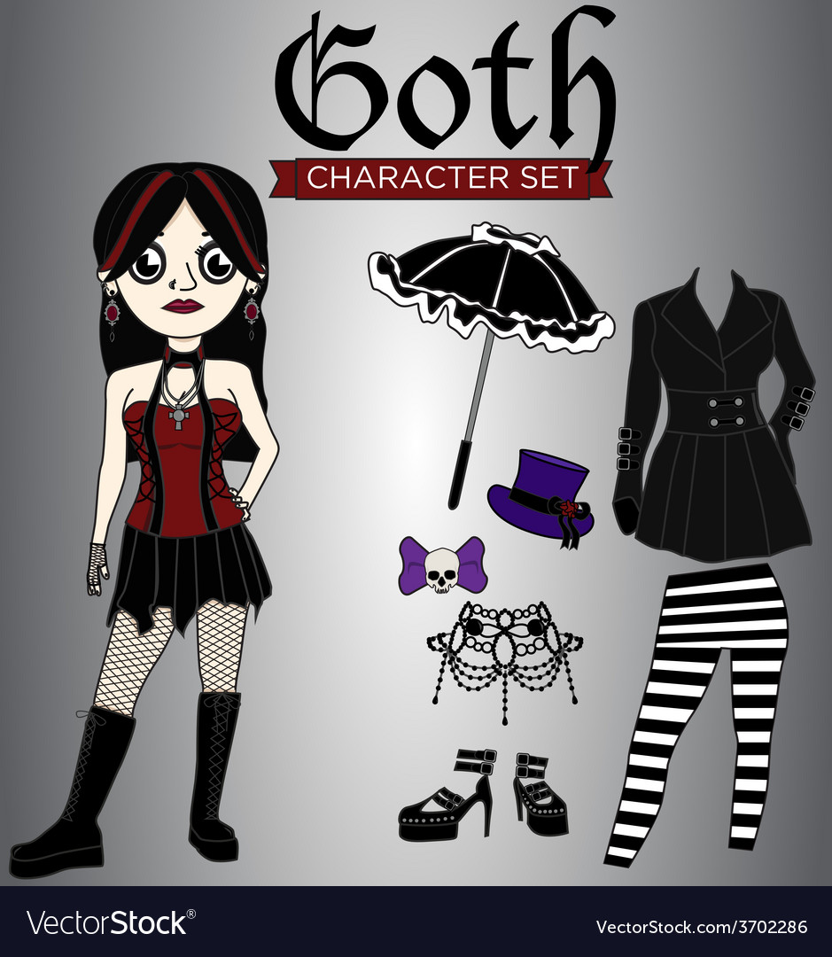 Goth girl character set vector | Price: 1 Credit (USD $1)