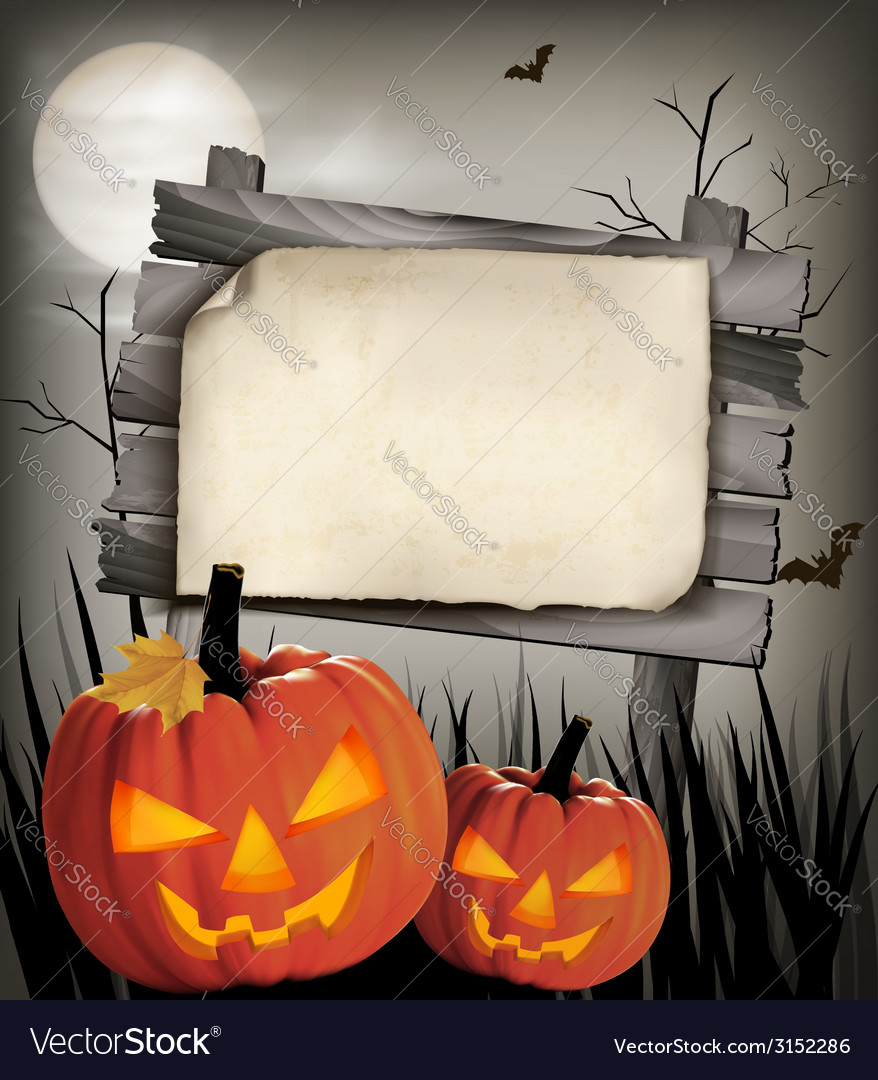 Halloween background with two pumpkins vector | Price: 1 Credit (USD $1)