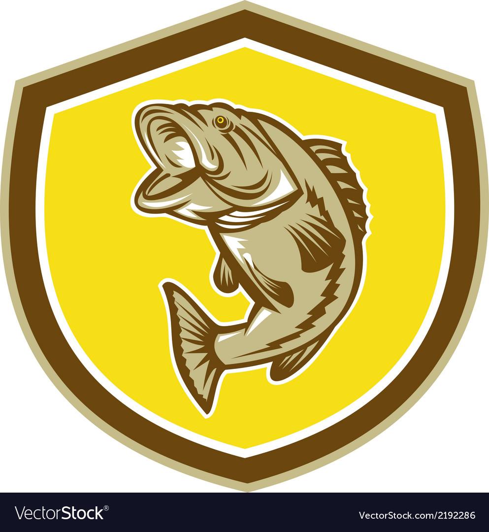 Largemouth bass jumping shield retro vector   Price: 1 Credit (USD $1)