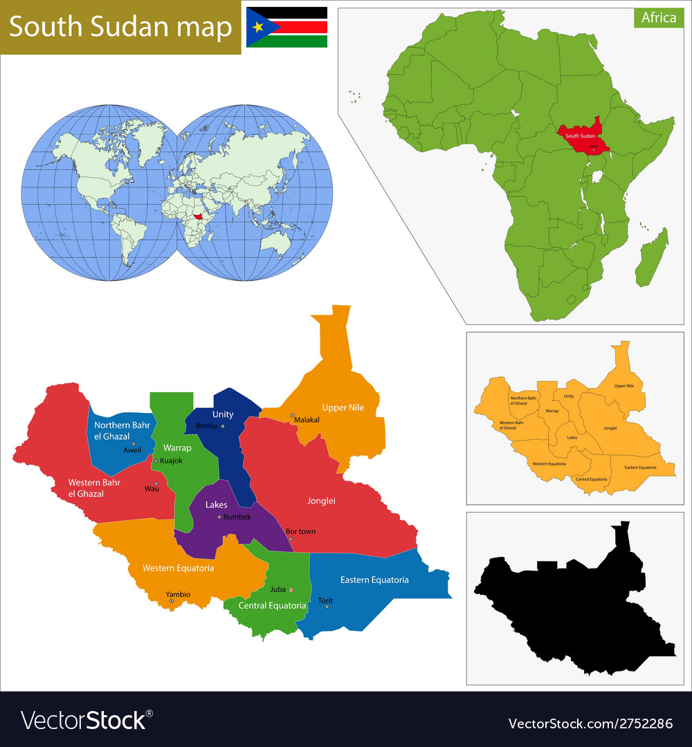 South sudan map vector | Price: 1 Credit (USD $1)