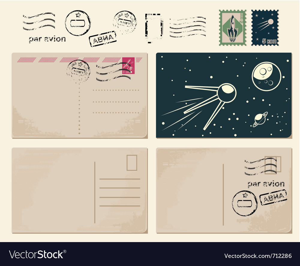 Vintage postcards vector | Price: 1 Credit (USD $1)