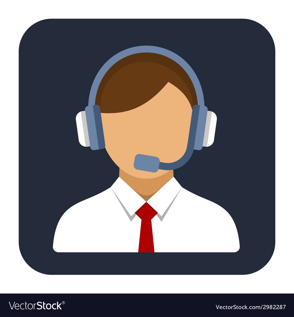 Call center operator or manager with headset flat vector | Price: 1 Credit (USD $1)