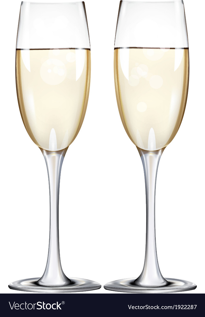 Champagne flutes two narrow glasses vector | Price: 1 Credit (USD $1)