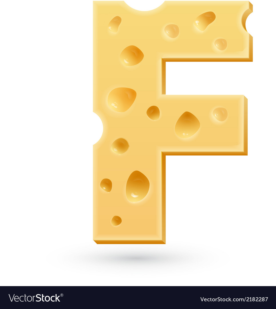 F cheese letter symbol isolated on white vector | Price: 1 Credit (USD $1)