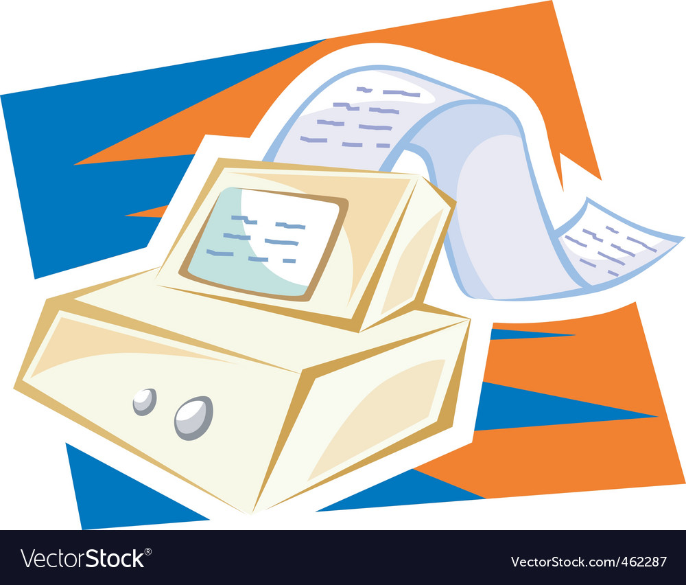 Fax machine with paper vector | Price: 1 Credit (USD $1)
