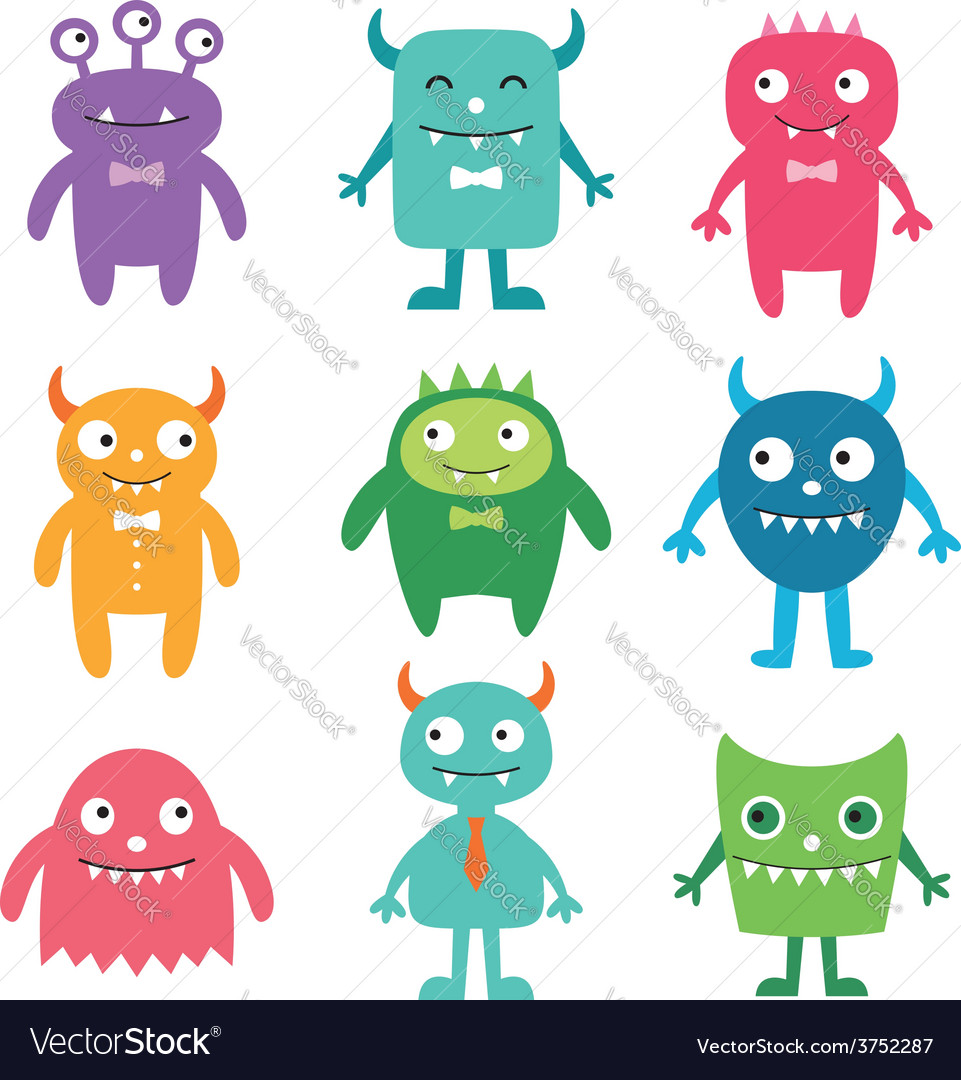 Friendly monsters set vector | Price: 1 Credit (USD $1)