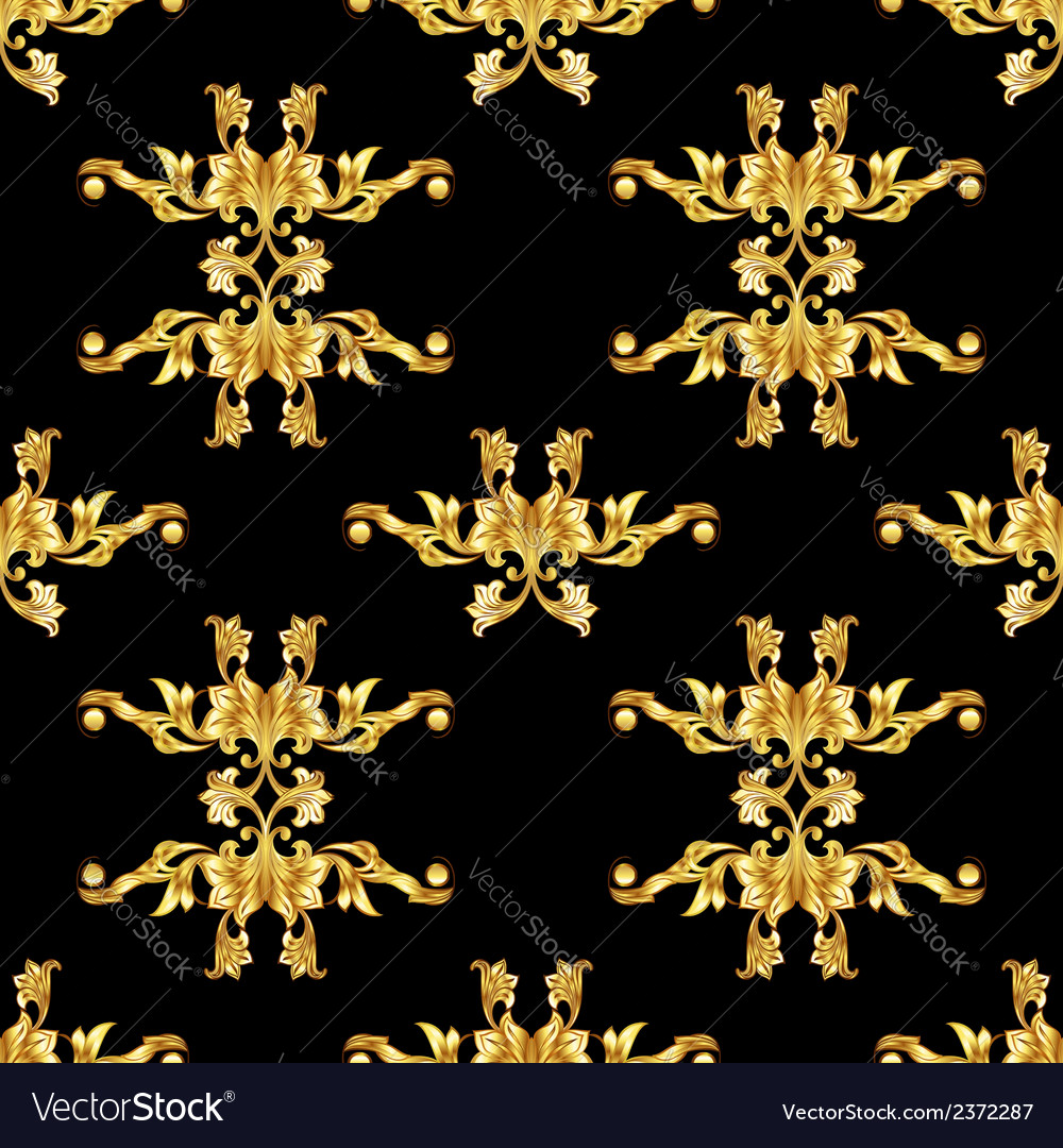 Golden floral pattern on black vector | Price: 1 Credit (USD $1)