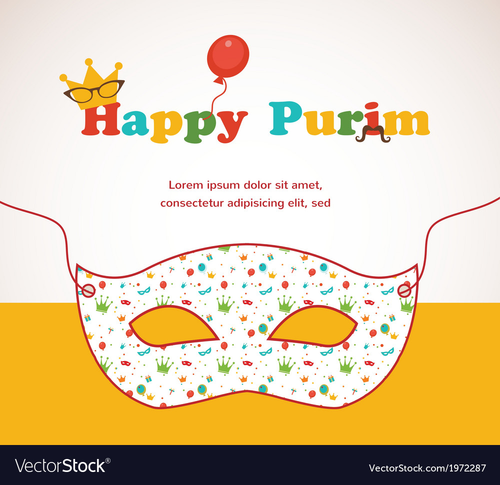 Happy purim party invitation design vector | Price: 1 Credit (USD $1)