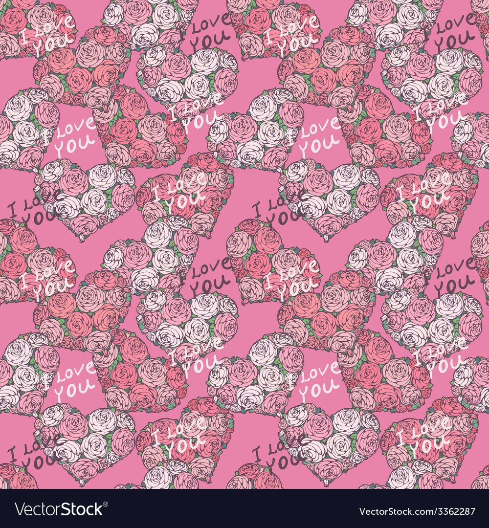 Seamless pattern with hearts made of red rose vector | Price: 1 Credit (USD $1)