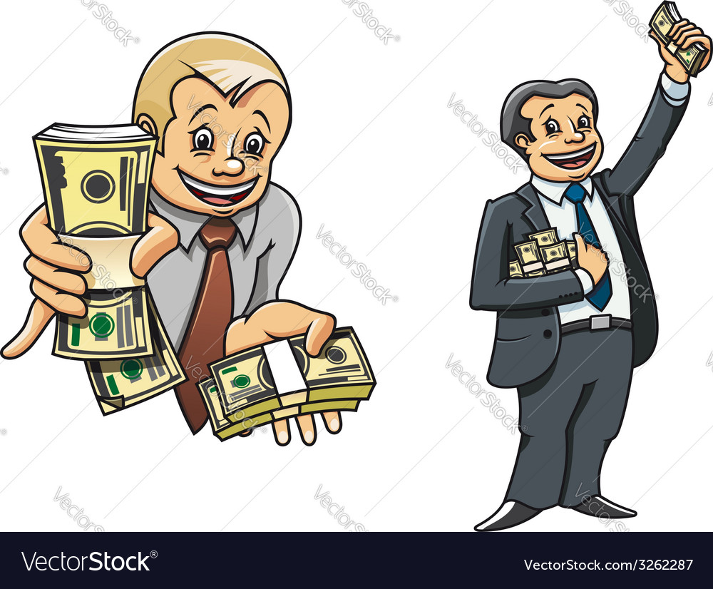 Successful businessman characters with money vector | Price: 1 Credit (USD $1)