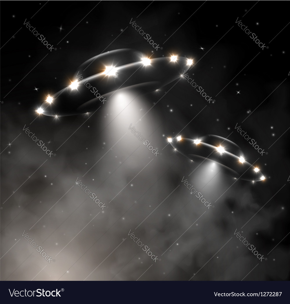 Ufo in fog vector | Price: 1 Credit (USD $1)