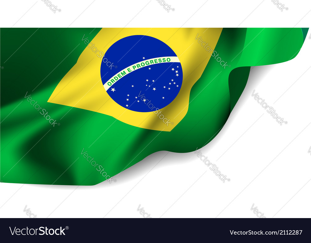 Waving flag of brazil south america vector | Price: 1 Credit (USD $1)