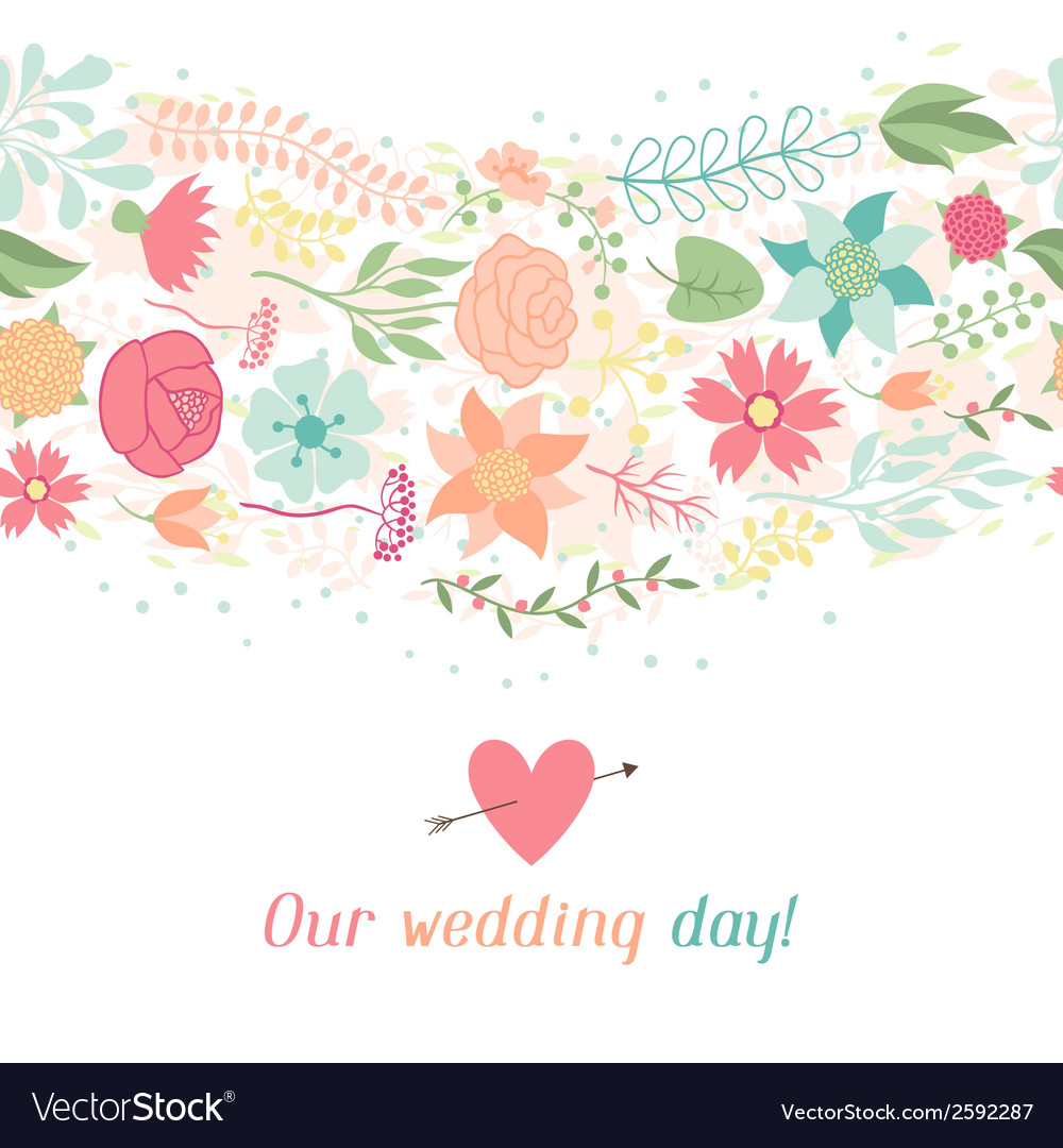 Wedding invitation card with pretty stylized vector | Price: 1 Credit (USD $1)