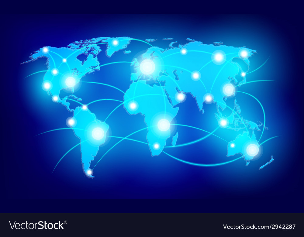 World map with glowing points vector | Price: 1 Credit (USD $1)