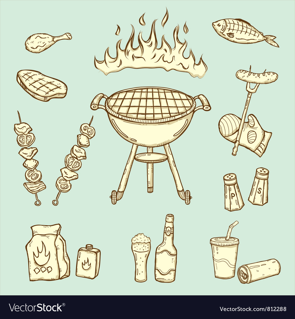 Barbecue set vector | Price: 1 Credit (USD $1)