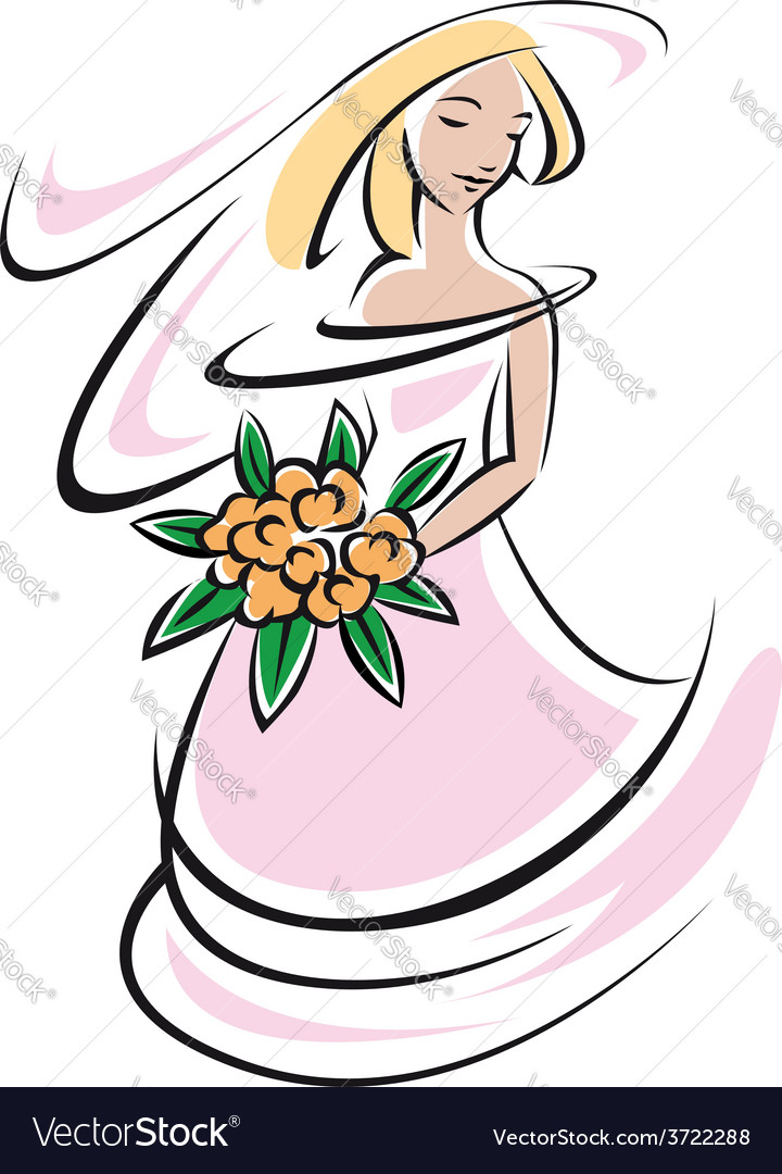 Bride silhouette in pink wedding dress vector | Price: 1 Credit (USD $1)