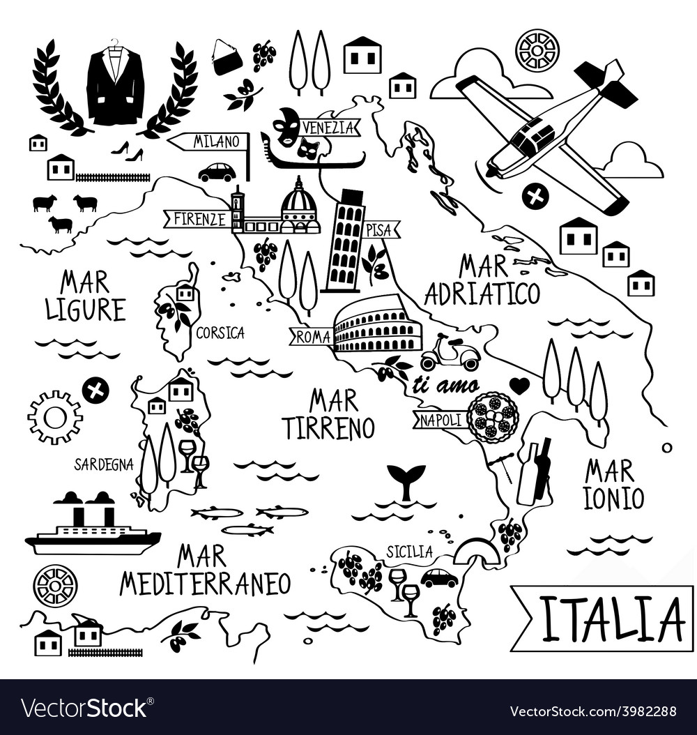 Cartoon map of italy vector | Price: 1 Credit (USD $1)