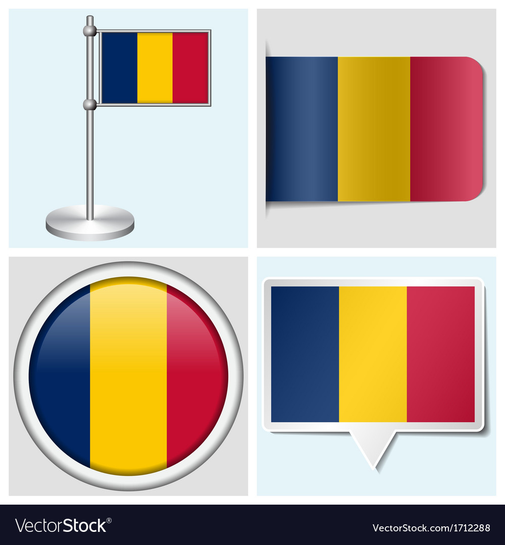 Chad flag - sticker button label flagstaff vector | Price: 1 Credit (USD $1)