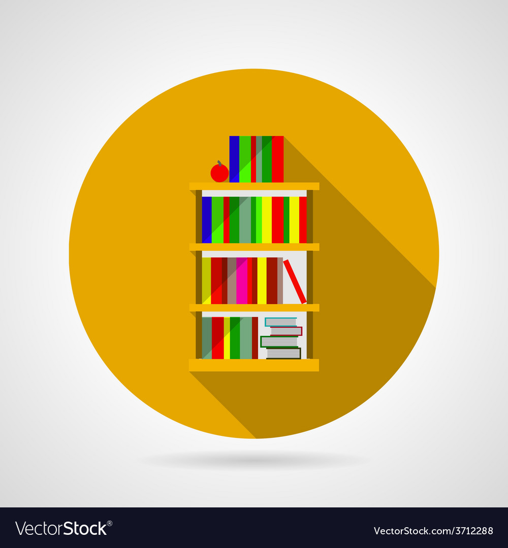 Flat icon for bookshelf with colorful books vector | Price: 1 Credit (USD $1)