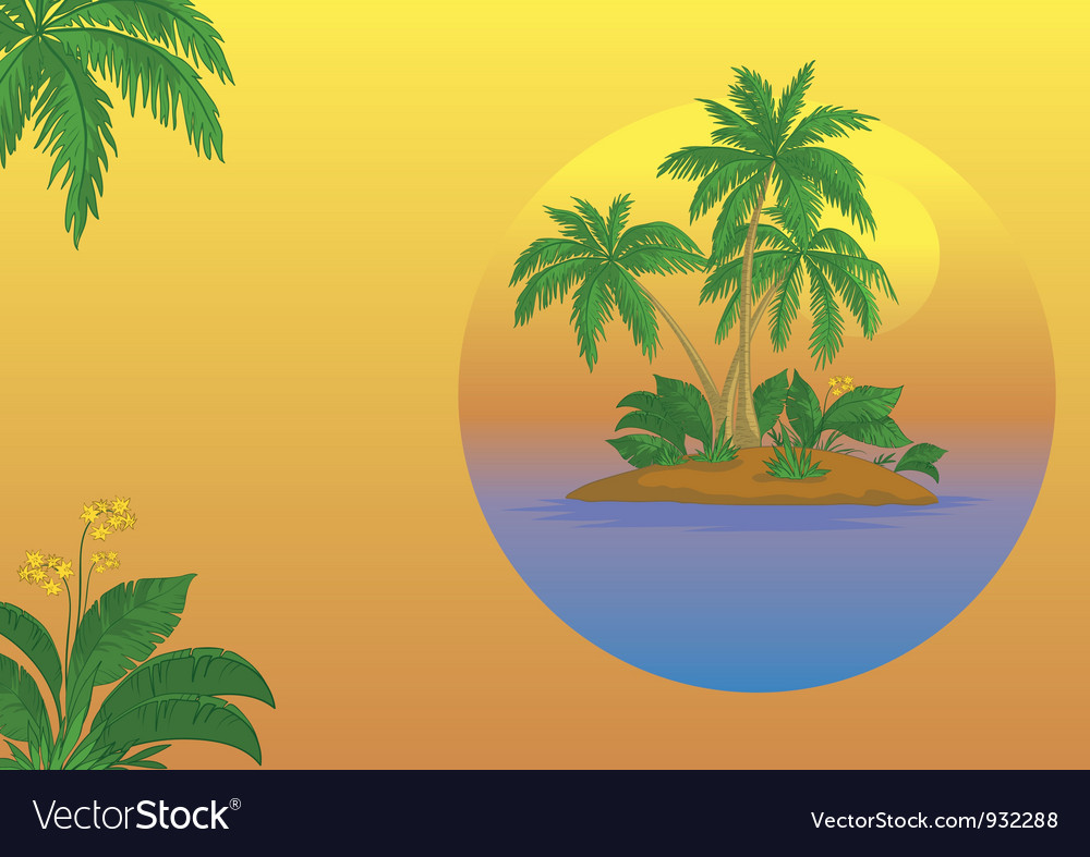 Island with palm and sun vector | Price: 1 Credit (USD $1)