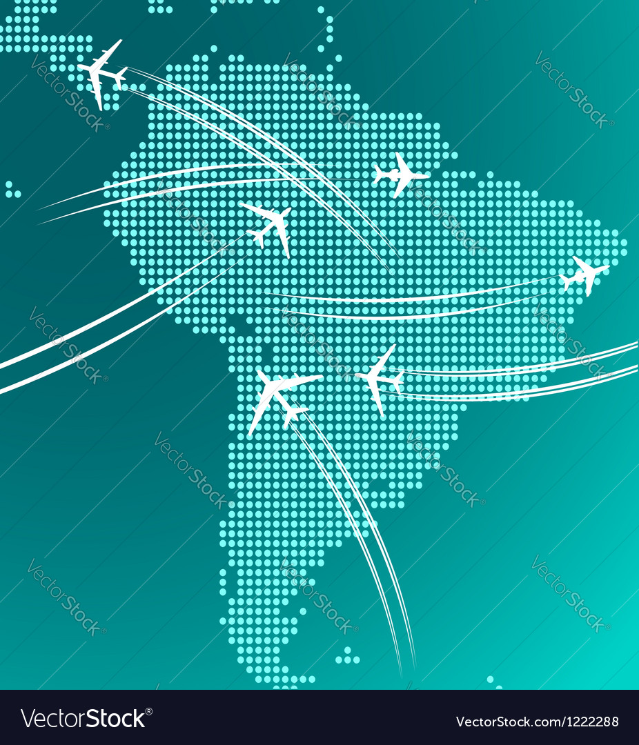Map of south america with trace of airplanes vector   Price: 1 Credit (USD $1)