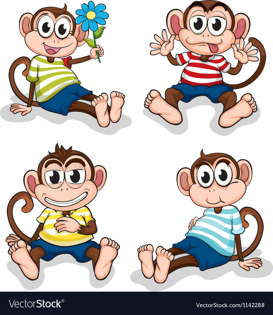 Monkeys with different facial expressions vector | Price: 1 Credit (USD $1)