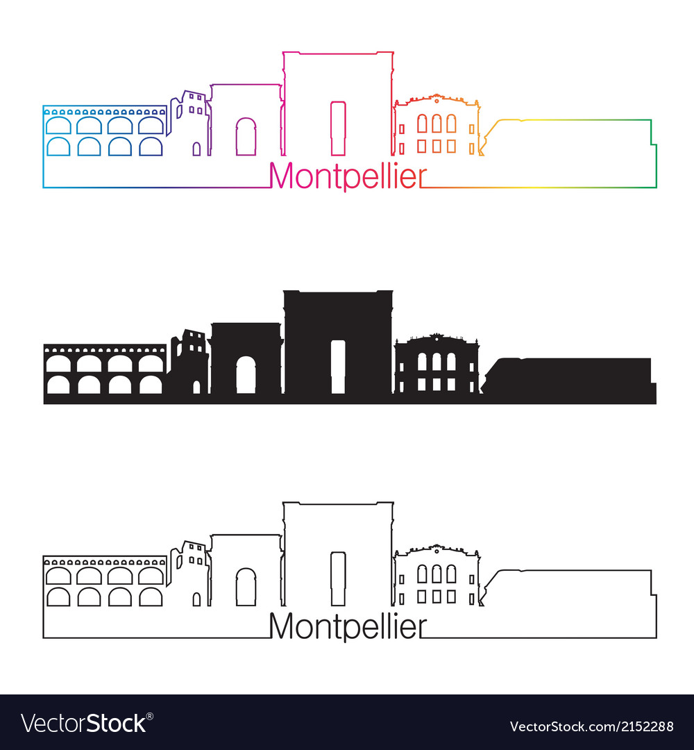 Montpellier skyline linear style with rainbow vector   Price: 1 Credit (USD $1)