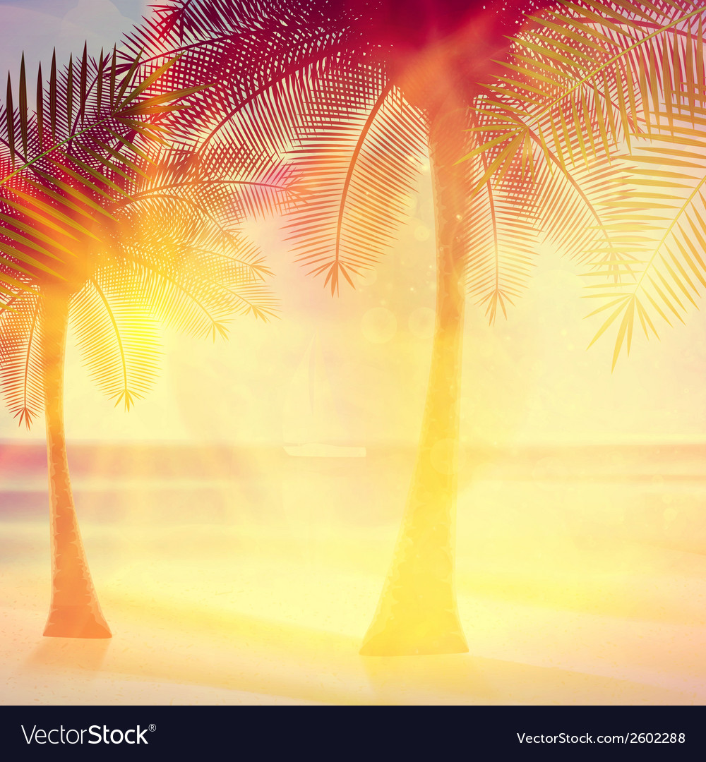 Vintage poster of tropical beach vector   Price: 1 Credit (USD $1)