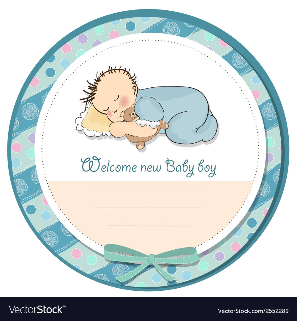 Baby boy shower card with little baby vector | Price: 1 Credit (USD $1)