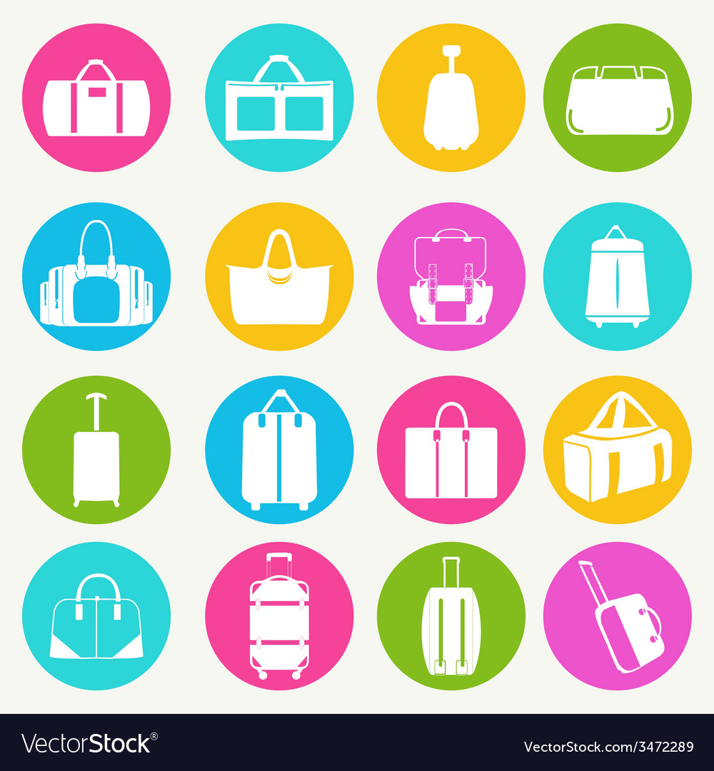 Bags icon set flat 38 vector | Price: 1 Credit (USD $1)